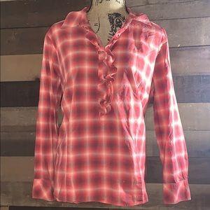Talbots ruffle flannel boho blouse